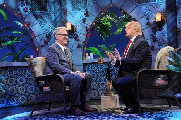 """Guest Keith Olberman tries to keep a straight face and Anthony Atamanuik as Donald Trump on """"The President Show."""" Photo: Brad Barket/Comedy Central"""