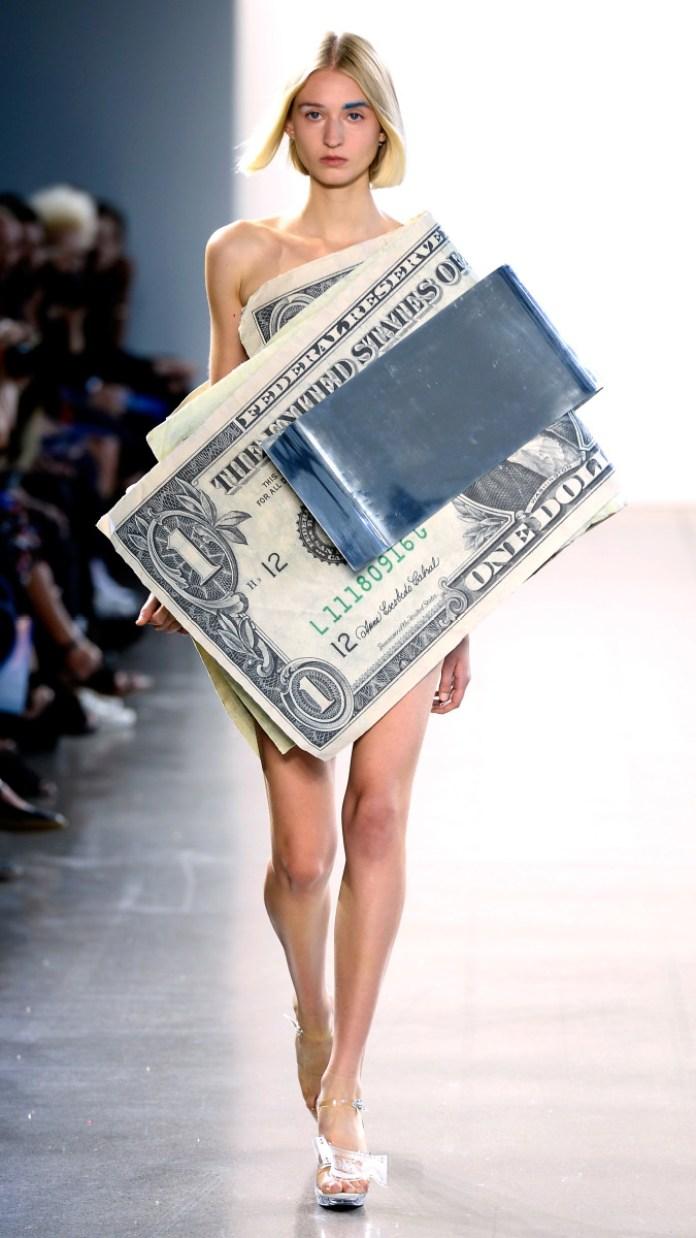 Parsons MFA designer Kota Okuda sent a model down the runway in a money clip, because capitalism! Photo: Fernanda Calfat/Getty Images