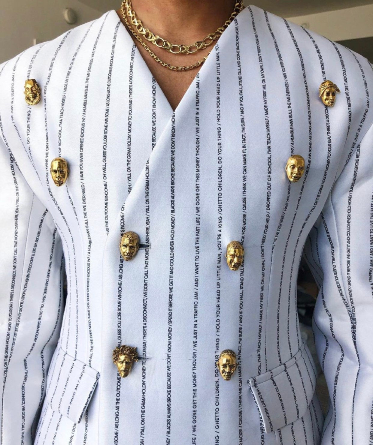 Details on Lena Waithe's Pyer Moss Met Gala suit. Photo: Javed James