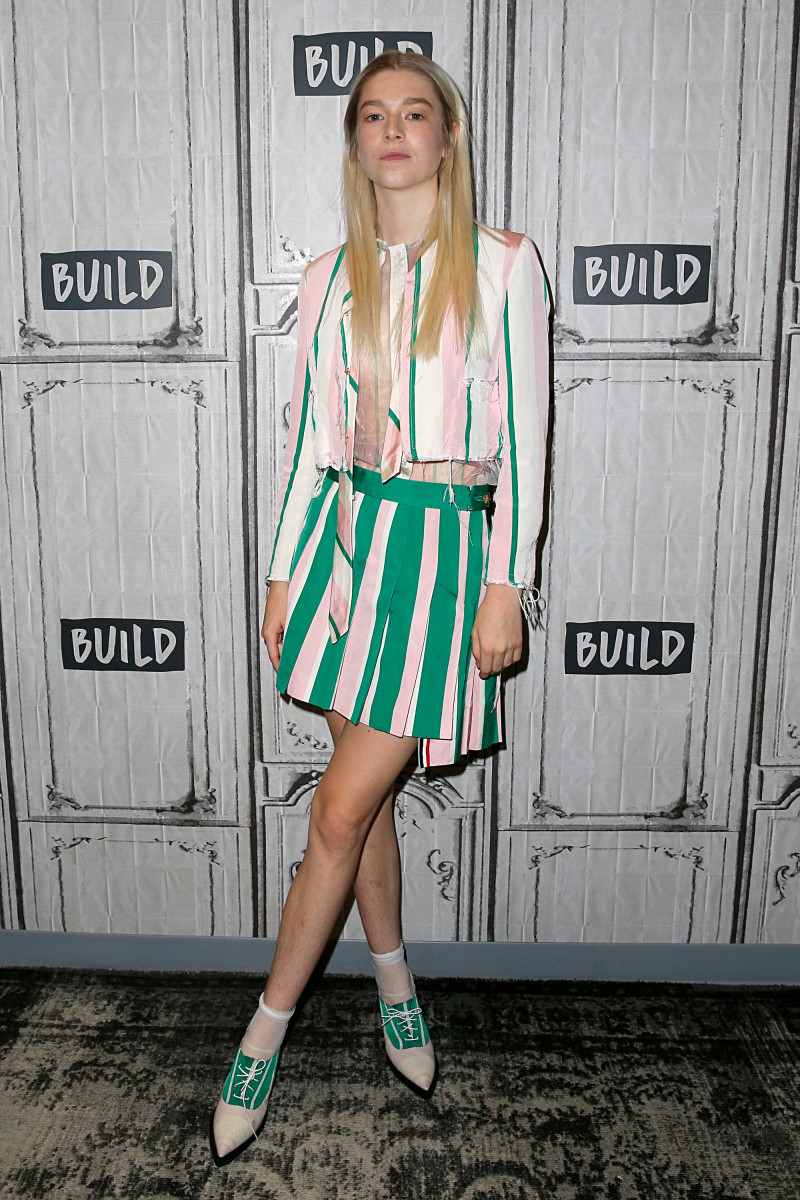 Hunter Schafer in Thom Browne at Build Studio. Photo: Dominik Bindl/Getty Images