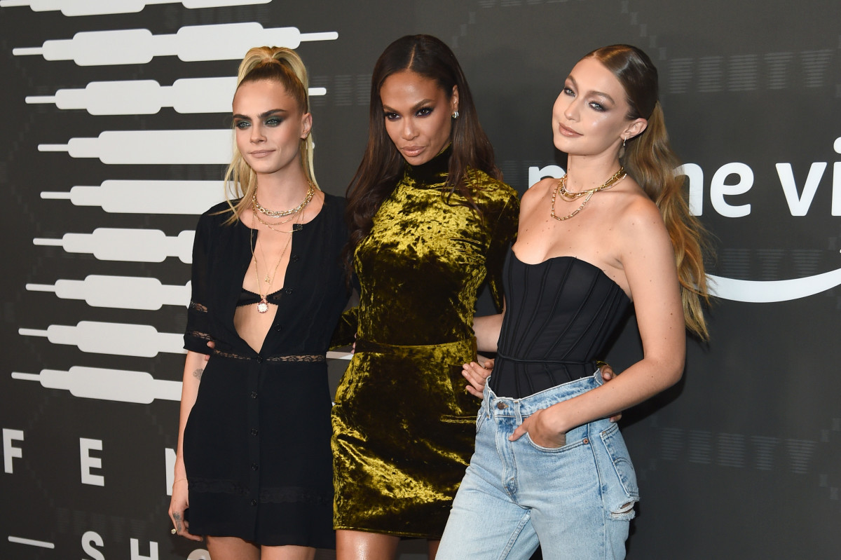 Cara Delevingne, Joan Smalls and Gigi Hadid at the Savage X Fenty Fall 2019 show. Photo: Dimitrios Kambouris/Getty Images