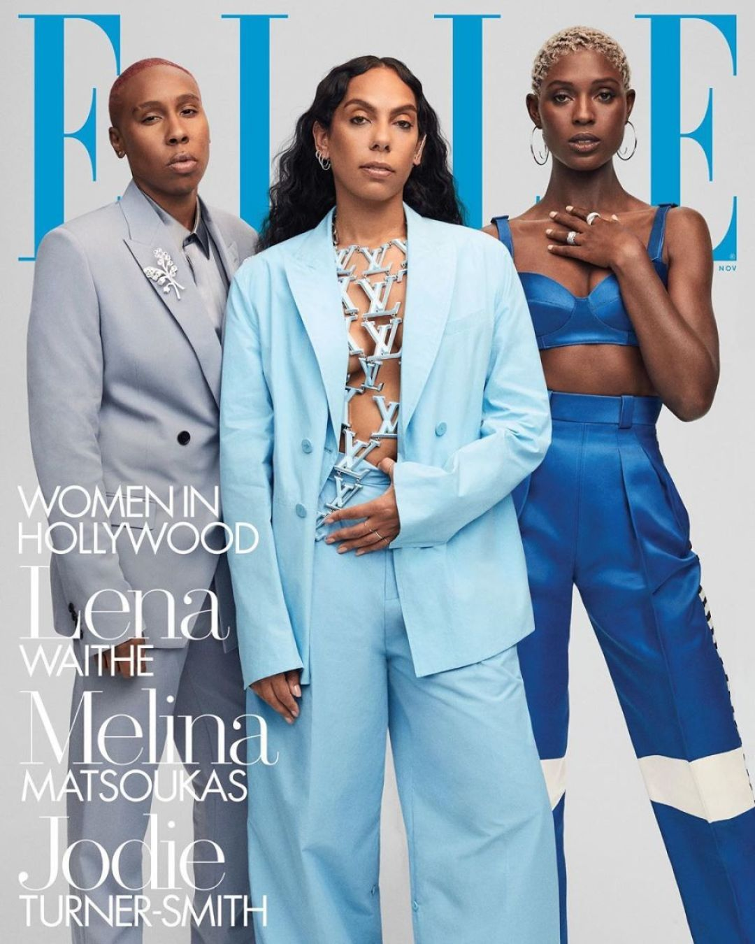"""Lena Waithe, Melina Matsouka and Jodie Turner-Smith for the """"Elle'"""" Women in Hollywood issue."""
