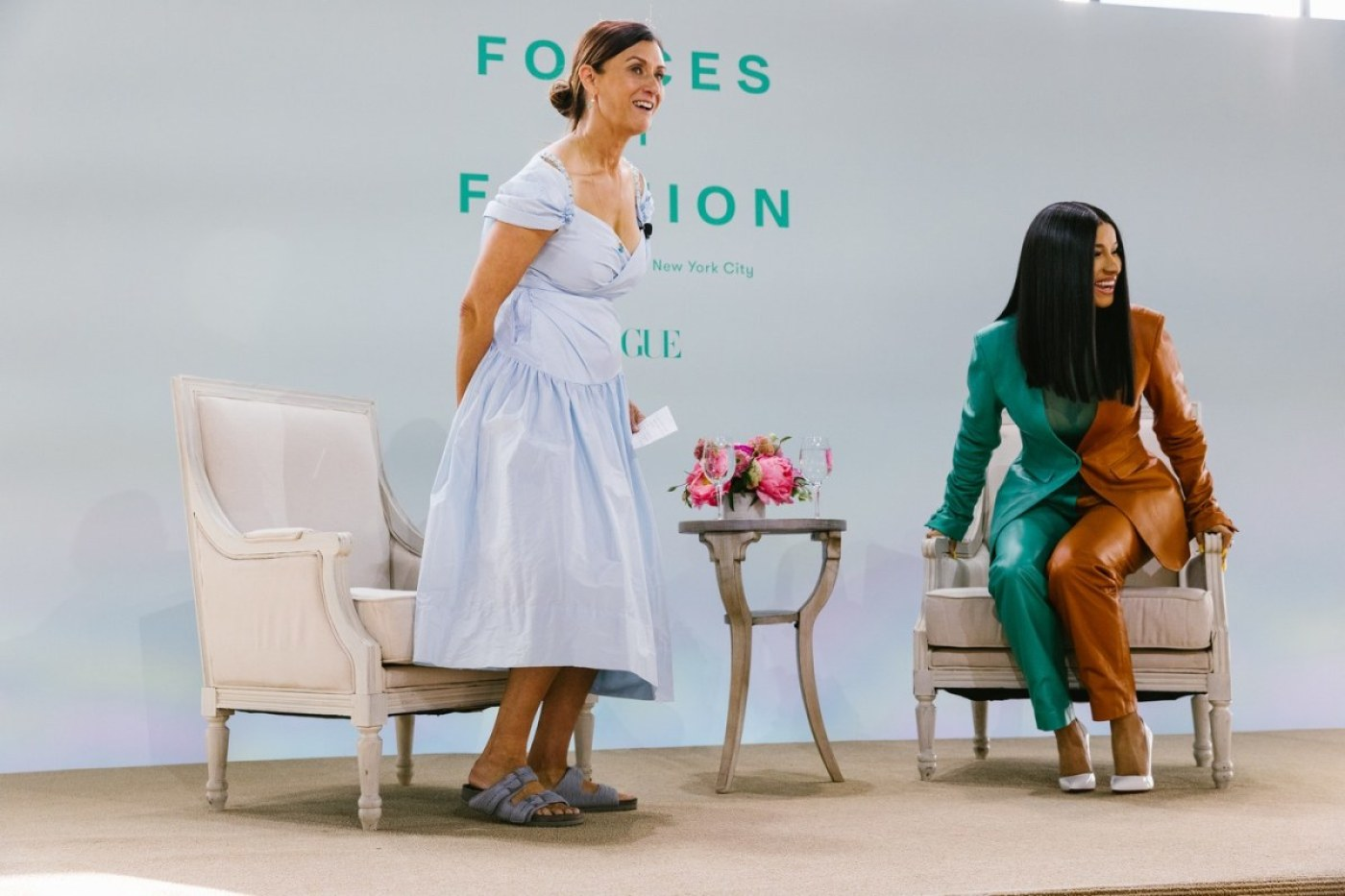 Sally Singer and Cardi B speaking on Vogue's Forces of Fashion panel. Photo: Corey Tenold for Vogue Magazine