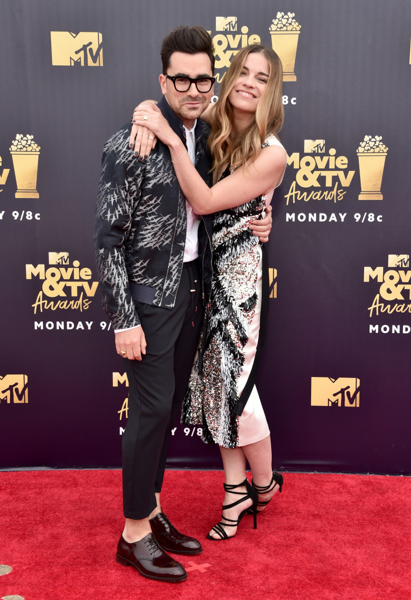 """""""Stop doing that with your face."""" Dan Levy and Murphy at the MTV Movie Awards in June 2018. Photo: Alberto E. Rodriguez/Getty Images for MTV"""