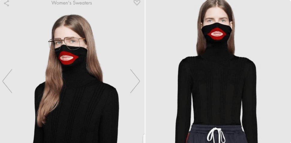 The Gucci sweater under fire. Photo: Screengrab from Twitter