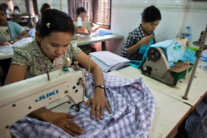 A garment factory in Yangon, Myanmar. Photo: Paula Bronstein/Getty Images