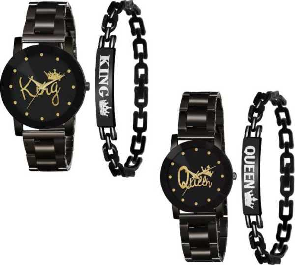 New Designer King Queen Watch and Bracelet Combo main