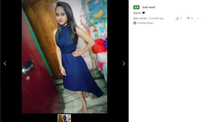 Women Drop Waist Blue Dress Customer Review