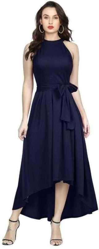 Women Drop Waist Blue Dress