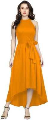 Women Drop Waist Yellow Dress 1