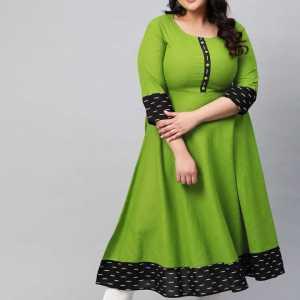 Women Green Printed Cotton Blend Anarkali Kurta
