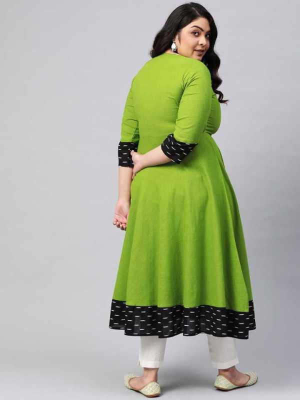 Women Green Printed Cotton Blend Anarkali Kurta 4