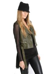 ROYAL DIGS Khaki Leather Asymmetrical Chiffon Belted Moto Jacket