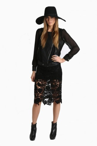 ROYAL DIGS Black Lace Crochet Skirt
