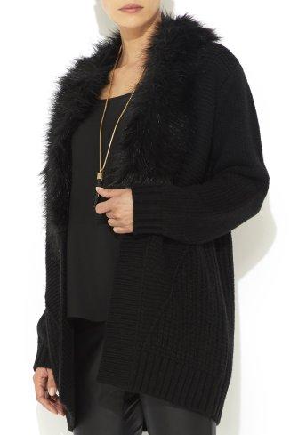 Black Fur Trim Coatigan
