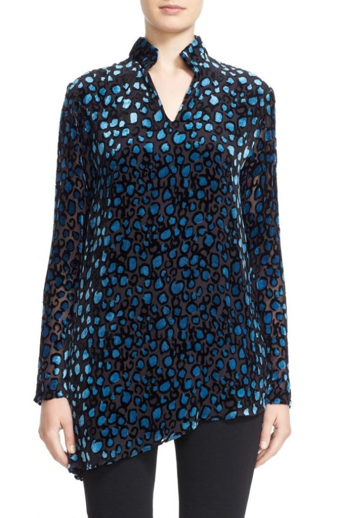Dotted Devoré Velvet Asymmetrical Tunic