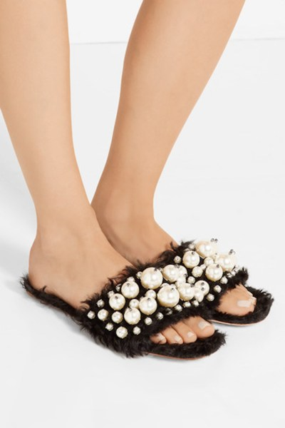 Currently Coveting: Miu Miu Embellished Faux Shearling Slides