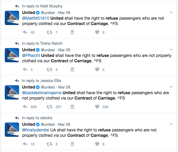 United tweets that it has the right to ban certain passengers who don't dress appropriately