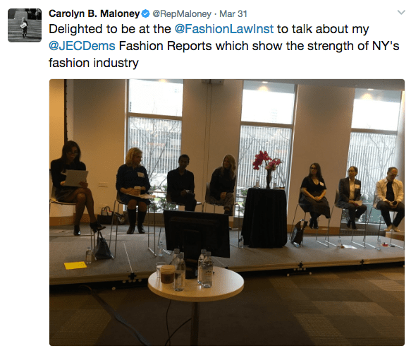Congresswoman Carolyn Maloney's tweet featuring the entrepreneurship panel at the Fashion Law Institute symposium