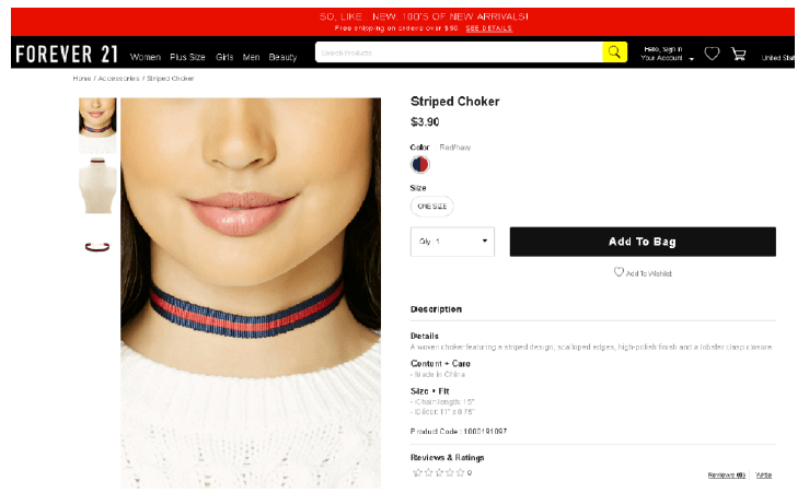 "Forever 21 striped choker -- in the immortal words of Led Zeppelin, ""sometime words have two meanings"""