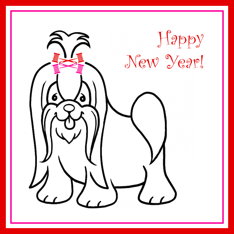 Happy New Year for the Year of the Dog, featuring a dog with Fashion Law Institute logos as boys in her hair