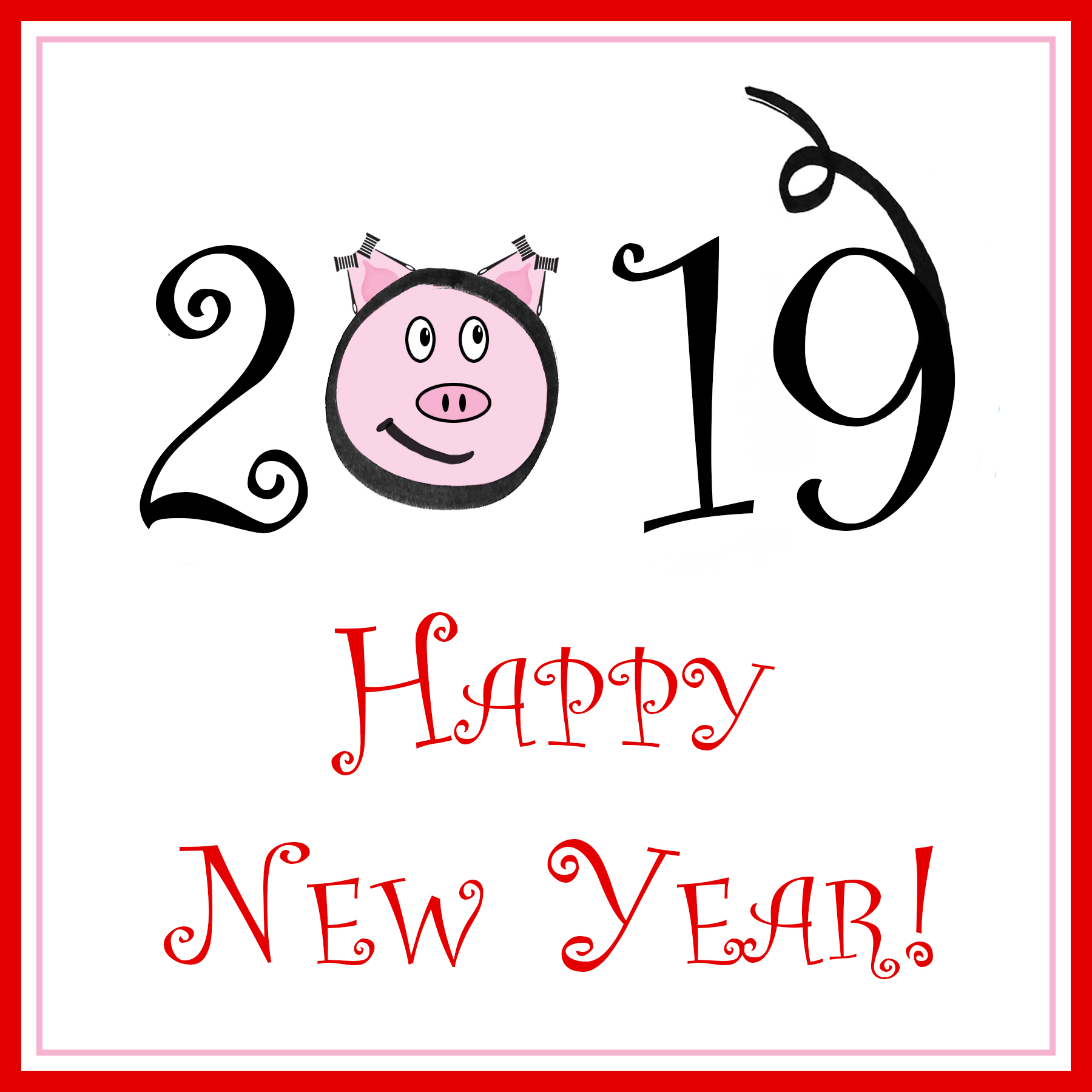 "Red box outline with ""2019 Happy New Year!"" in stylized text. the ) in 2019 is a cartoon of a pig with the gavel from the fashion law institute logo forming its ears"