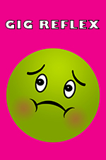 Gig Reflex and green nauseated face emoji on pink background