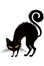 Black cat with copyright and trademark symbols in eyes