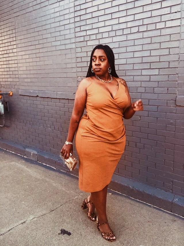 black girl in draped dress