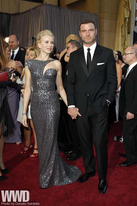 Naomi Watts in Armani Prive and Neil Lane with Liev Schreiber in Calvin Klein Collection.