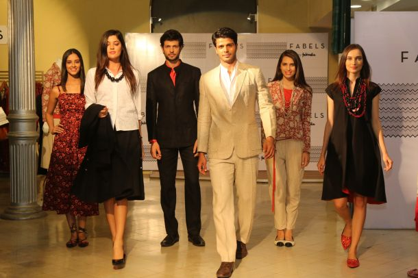 Models walking with FABELS outfits