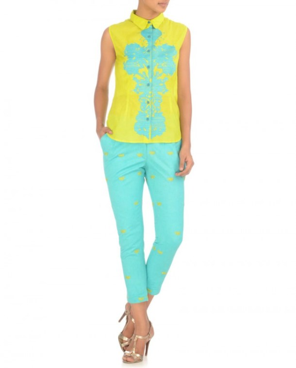 NIDA MAHMOOD Lime Green Embroidered Shirt with Capri Pants Rs. 4225 at Exclusively.in