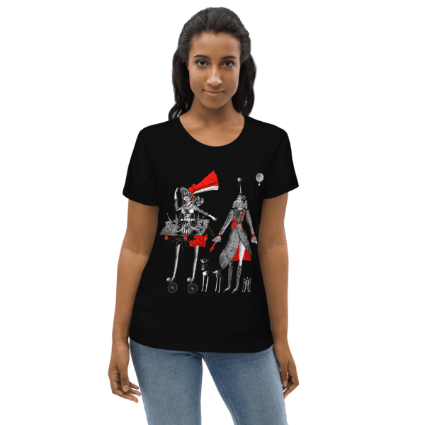 100% organic cotton T-shirt in black with Carnival print