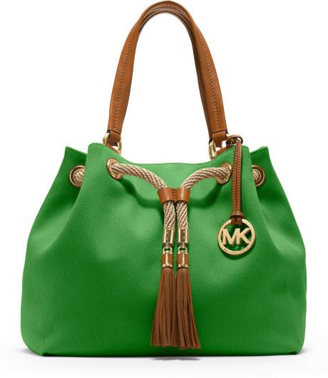 4. green handbag