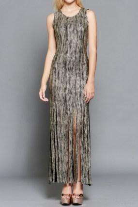 Gold and Black Fringe Maxi Dress