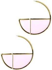 enamel and gold half hoop earrings - blue labels boutique