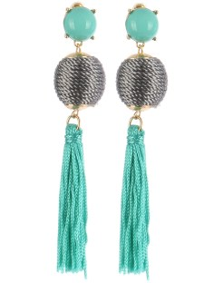 gemstone ball fringe earrings blue labels boutique