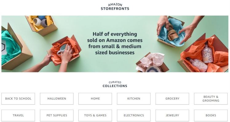 Amazon Storefronts small medium sizes businesses local proximity last-mile long tail products retail