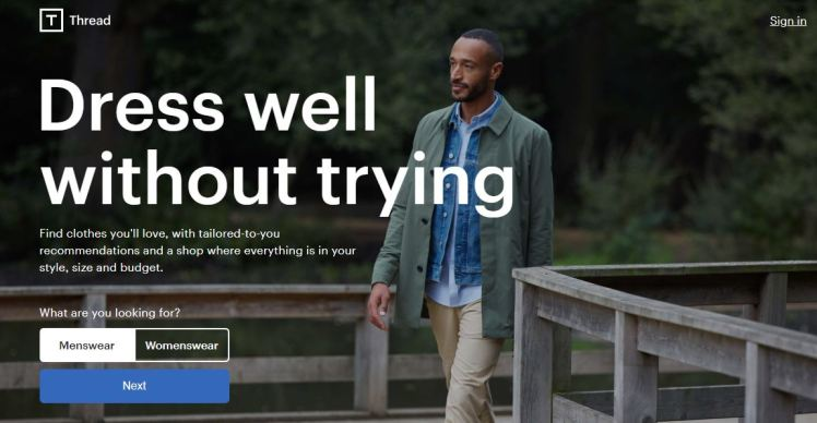 Thread menswear womenswear brand AI driven startup acquired by HM