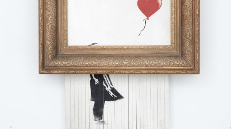 Bansky self-destructing painting streetart ephemeral fashion liquid consumerism