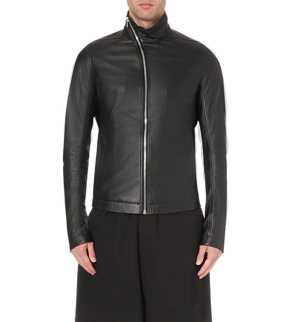 Rick Owens Asymmetric Leather Jacket