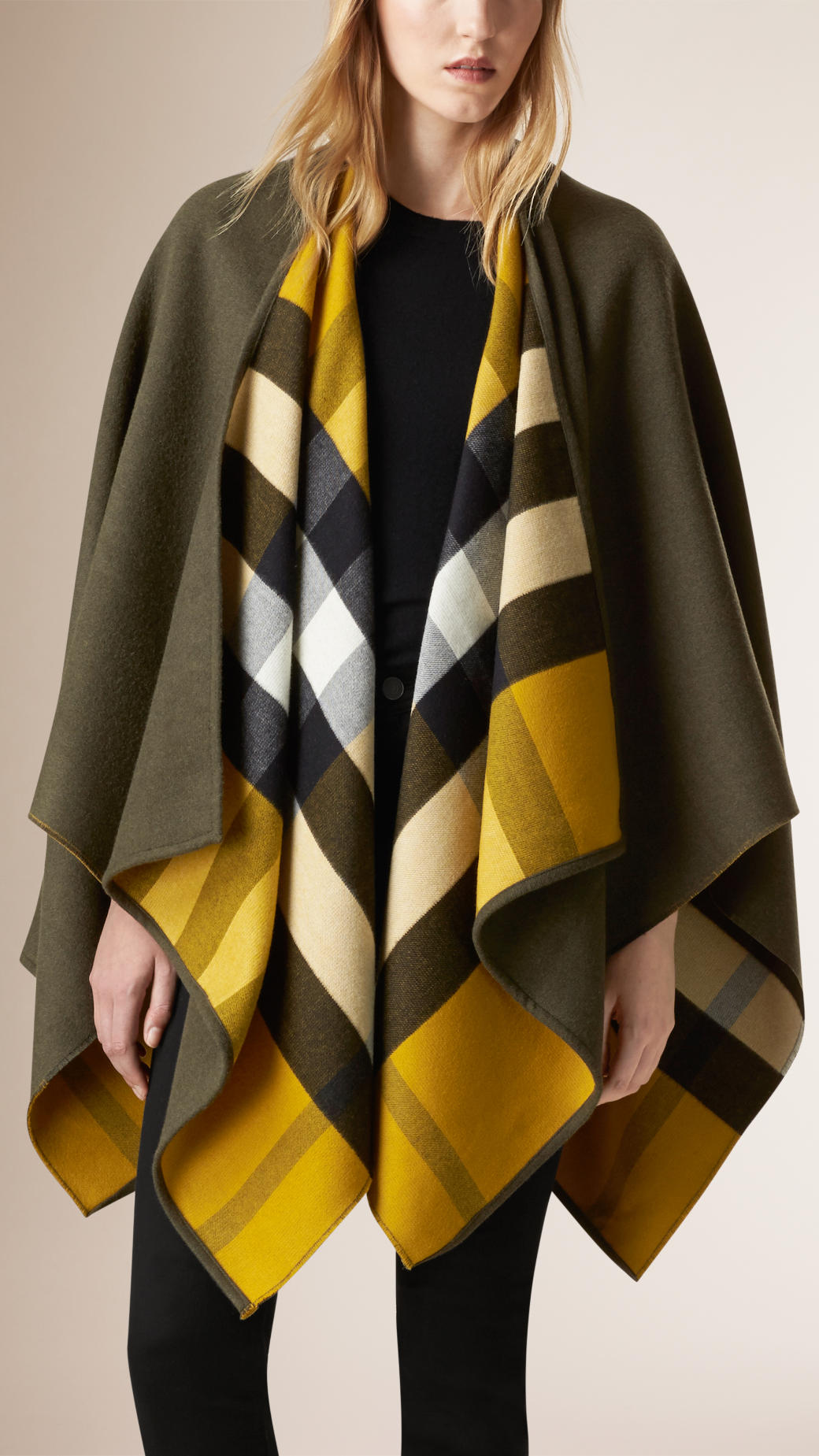 burberry-check-lined-wool-wrap-olive-green