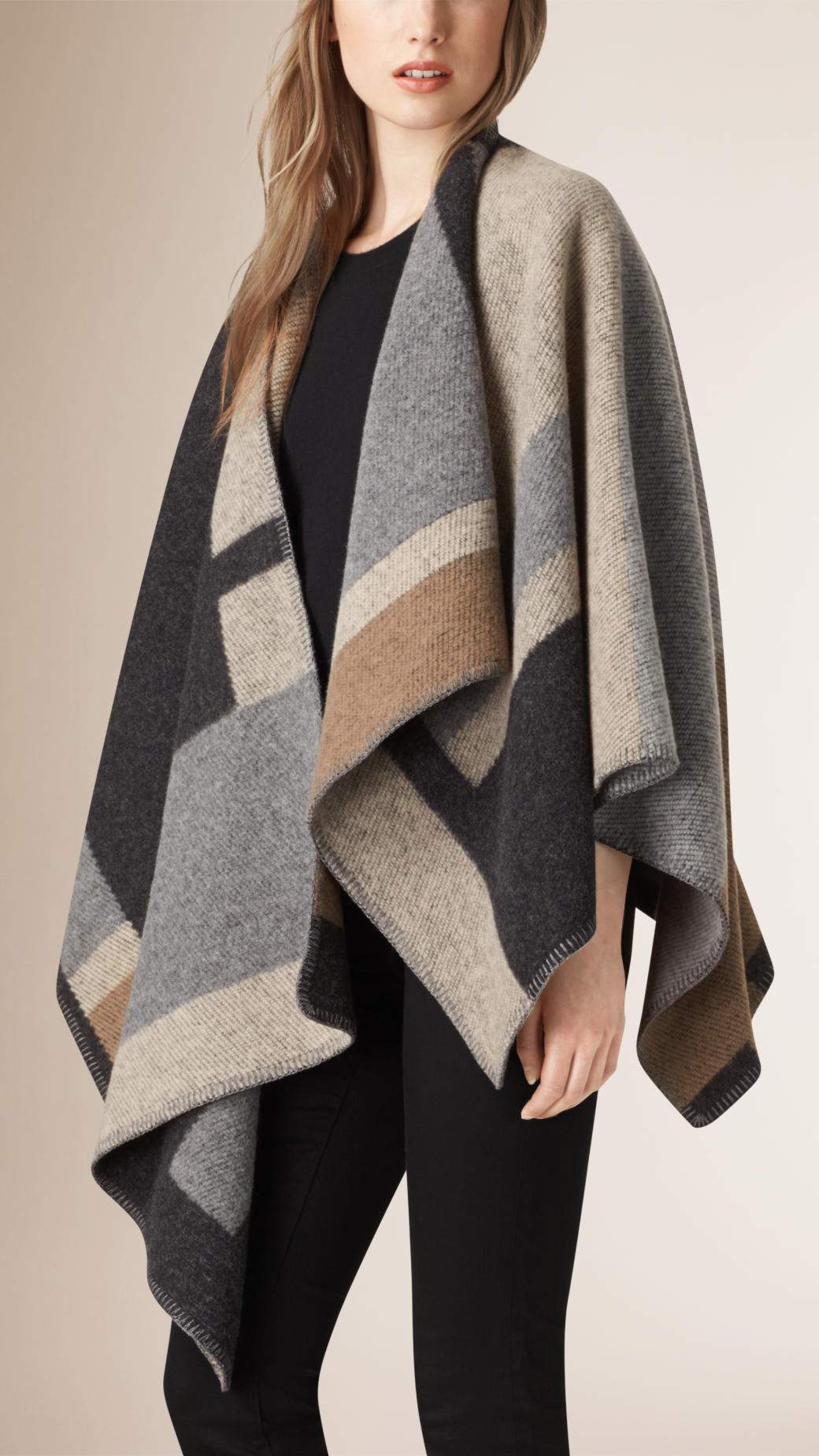 burberry-pale-camel-wool-cashmere-blanket-cape-poncho