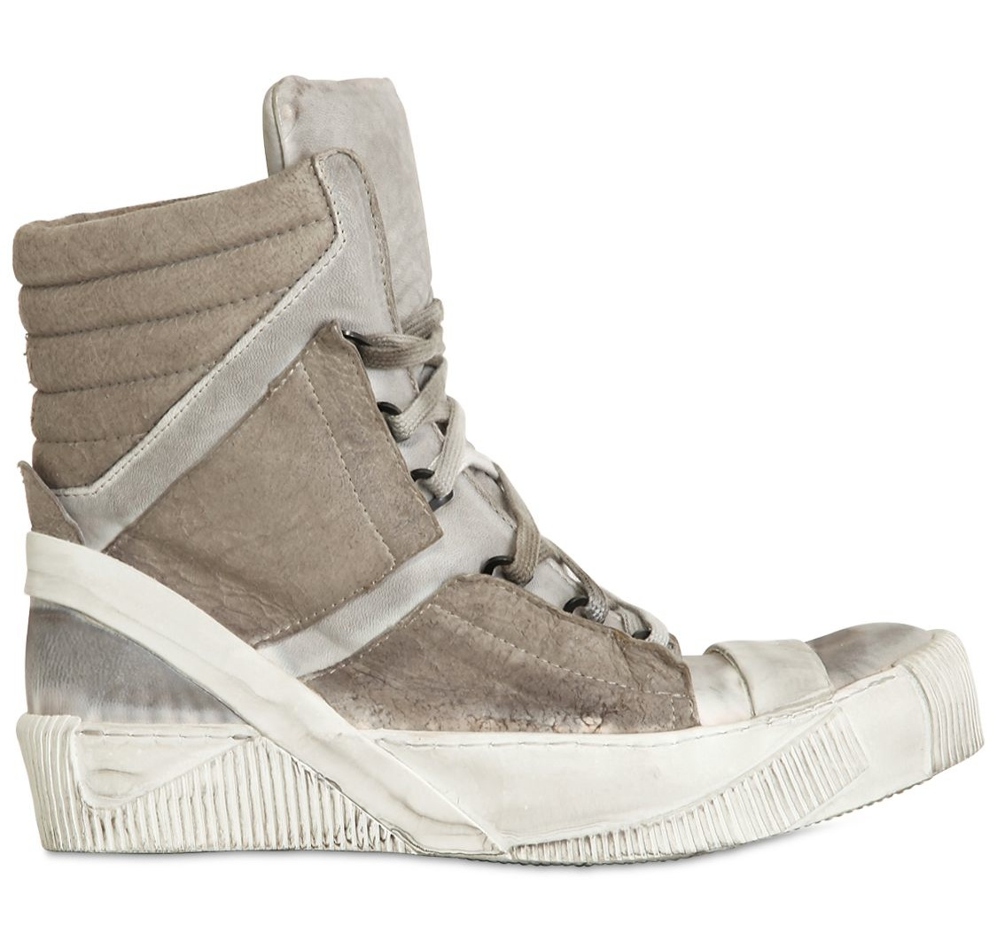 BORIS BIDJAN SABERI  DIRTY NAPPA LEATHER HIGH TOP SNEAKERS