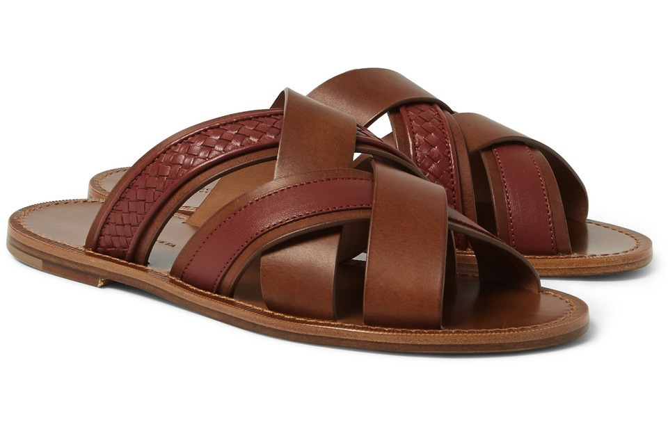 Bottega Veneta Intrecciato Panelled Leather Sandals