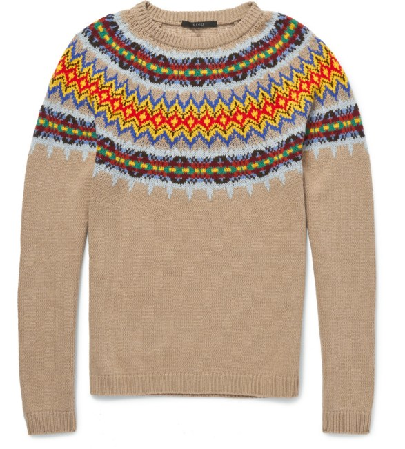 Gucci Knitted Wool And Cashmere Blend Fair Isle Sweater
