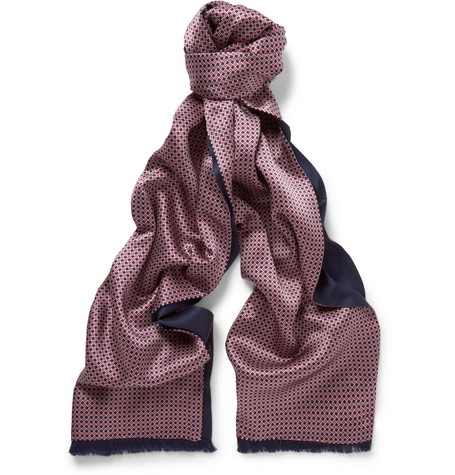 Brioni Patterned Silk Satin Evening Scarf