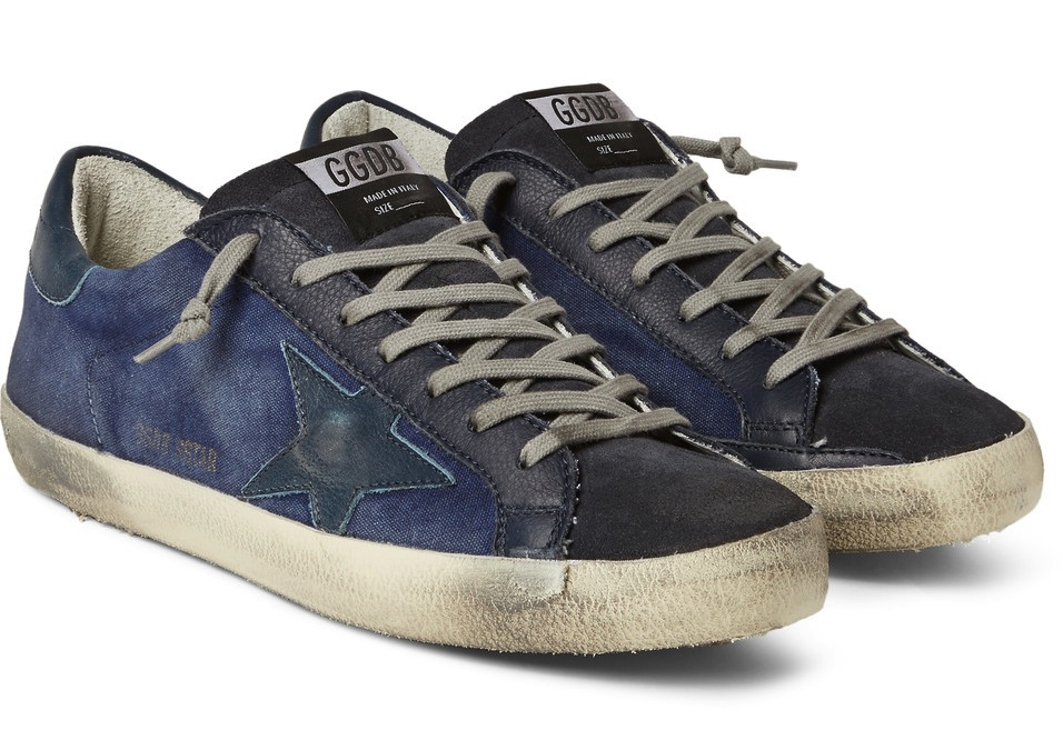 Golden Goose Deluxe Brand Superstar Distressed Denim Leather And Suede Sneakers