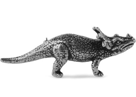 Saint Laurent Silver Tone Dinosaur Badge Triceratops