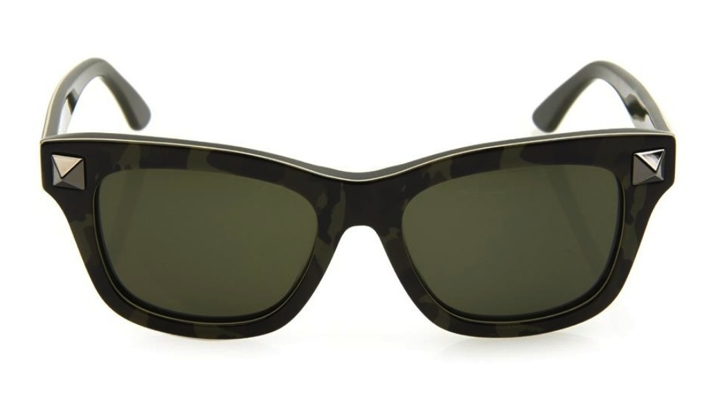 Valentino Camouflage Print Square Framed Sunglasses